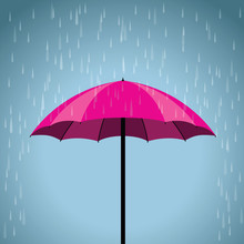 Pink Umbrella And A Rain Background