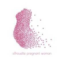 Illustration Of A Silhouette Of Pregnant Woman With Scattering Flowers. Vector Illustration