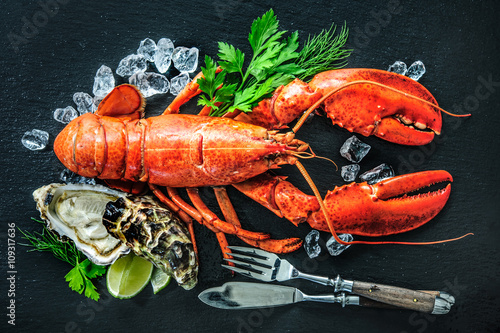Poster Coquillage Shellfish plate of crustacean seafood