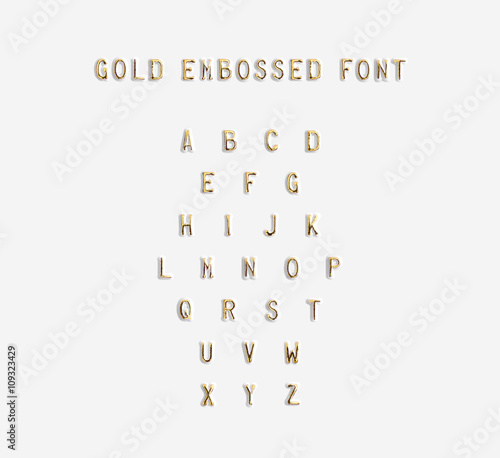 Fotografija  Gold embossed alphabet isolated, 3d illustration