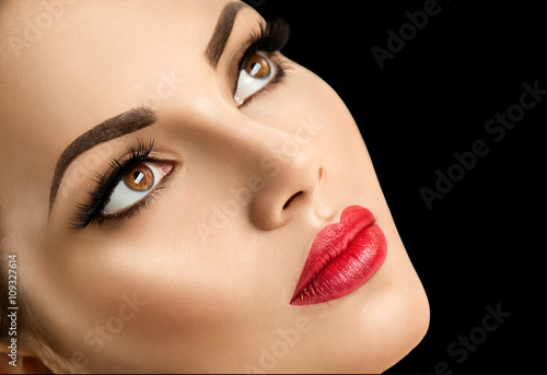 Poster - Beauty fashion model woman face, perfect make-up