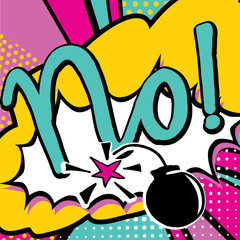 No! quote handwritten type in Pop art comic style. Bang, explosion decorative halftone poster template vector illustration.