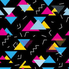 Fototapeta Abstrakcja Seamless geometric pattern with magenta, blue, yellow triangles in pop art, retro 80s style. With lines, zigzag, dot on black background.