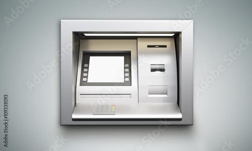 Fotografia, Obraz ATM machine grey background