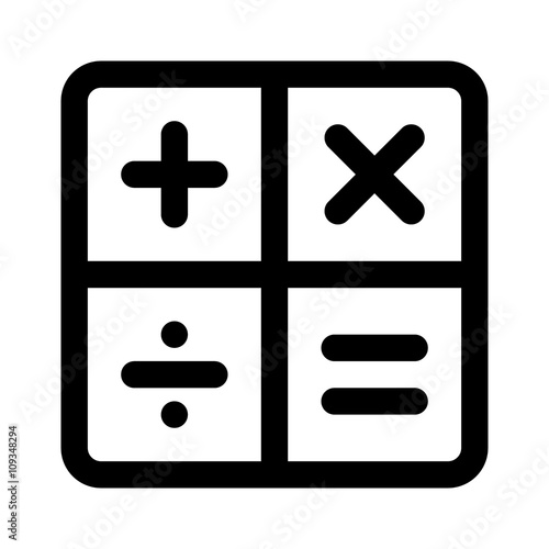 Calculator Arithmetic Operation Signs Symbols Line Art Icon For