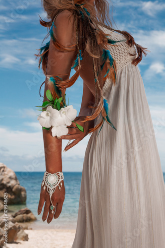 Fototapety, obrazy: beautiful young bride on the beach