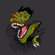 Agressive T Rex.t Shirt Illustration