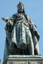 Statue Of King Charles IV At The Entrance To The Charles Bridge