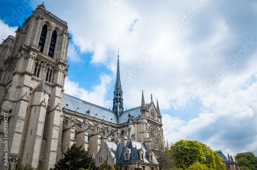 Spoed Foto op Canvas Bedehuis beautiful view Notre Dame Cathedral in Paris France (French for