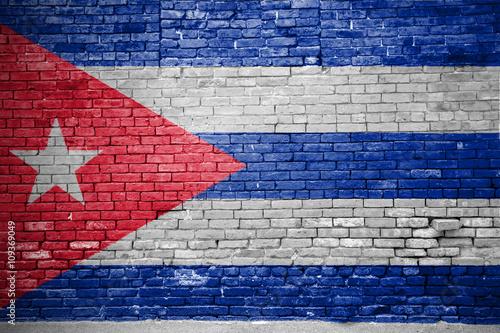Ziegelsteinmauer mit Flagge Kuba Canvas Print