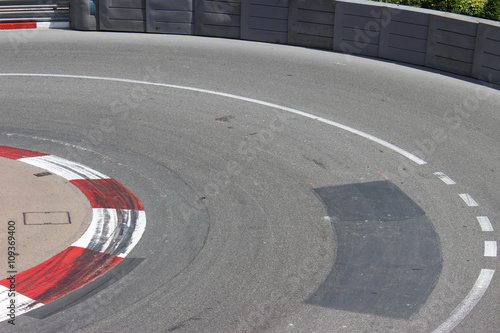 Fotografía  Texture of Motor Race Asphalt and Curb on Monaco GP