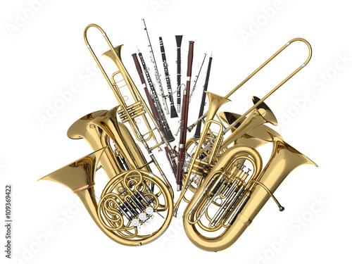 Obrazy architektura  wind-musical-instruments-isolated-on-white