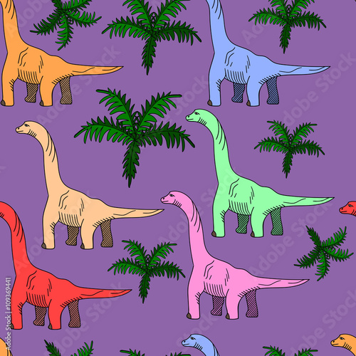 Photo  Brontosaurus seamless vector illustration