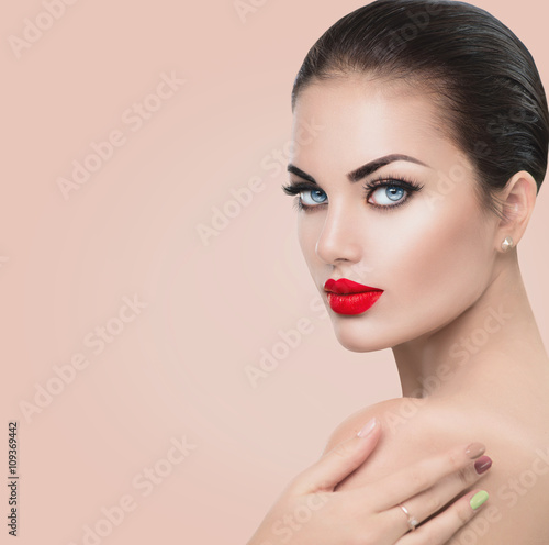 Beauty fashion model woman. Girl with red sexy lips and blue eyes Poster