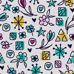 Tapeta seamless hand drawn pattern