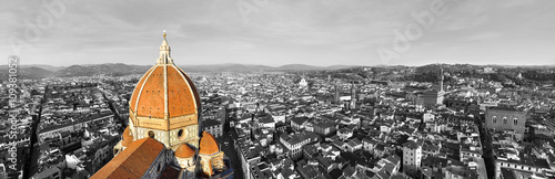 Black and white panorama of the city of Florence, Italy with selective color on the cathedral