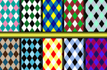 Set Of Ten Seamless Argyle Print Patterns.