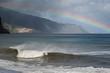 kitschiger Regenbogen über der Küste von Madeira