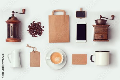 Photo  Coffee shop mock up template for branding identity design