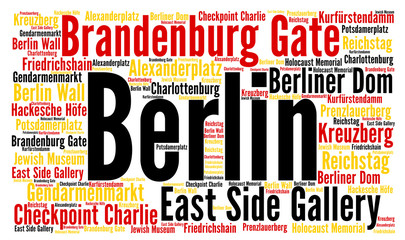 Panel Szklany Berlin Berlin city in Germany word cloud