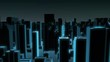 Seamless looping animation of a 3d city skyline, nighttime