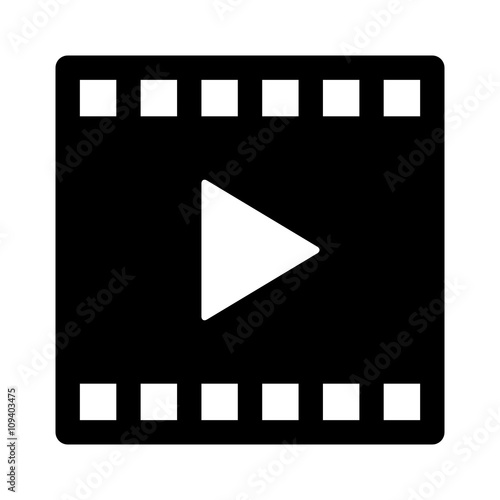 Juliste  Video or movie clip play flat icon for apps and websites