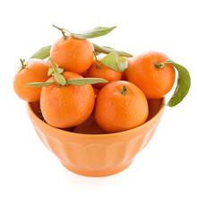 Tangerines On Ceramic Orange Bowl