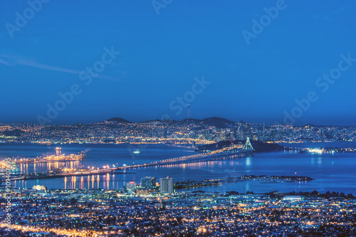 Stampa su Tela San Francisco Bay in Pre-Dawn Blue