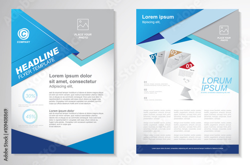Fototapeta Vector Brochure Flyer design Layout template, size A4, Front page and back page, infographics. Easy to use and edit. obraz na płótnie