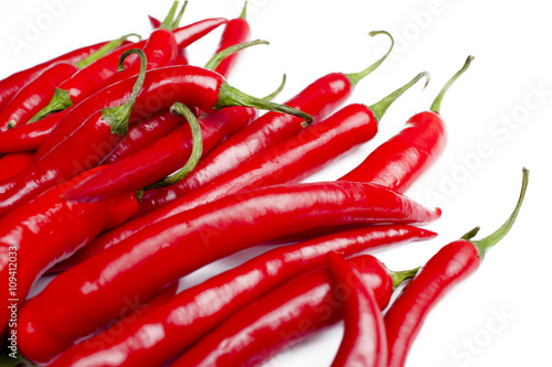 Fototapety, obrazy: Hot Chilli Peppers on White Background