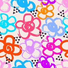 Tapeta seamless pattern with hand drawn flowers