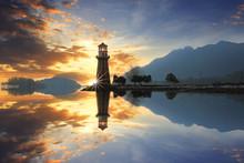 Sunset At Lighthouse Coastal B...