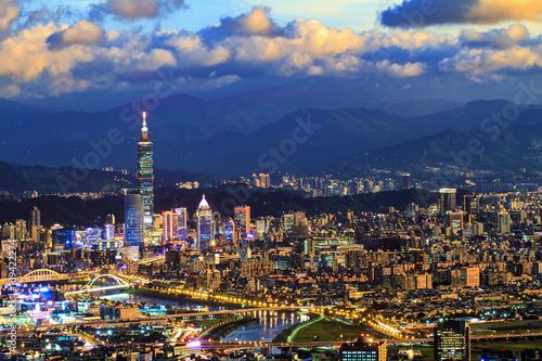 Foto op Aluminium Shanghai Night view of Taipei city with nice color, Taiwan