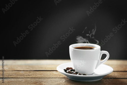 Recess Fitting Cafe Cup of coffee and coffee grains on wooden table, on gray background