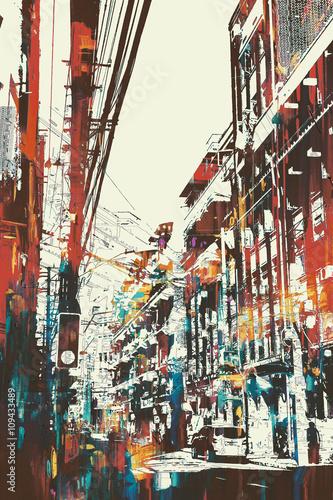 Obraz w ramie illustration painting of urban street with grunge texture