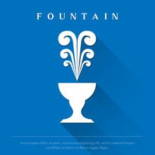 White Fountain Logo Vector Illustration.