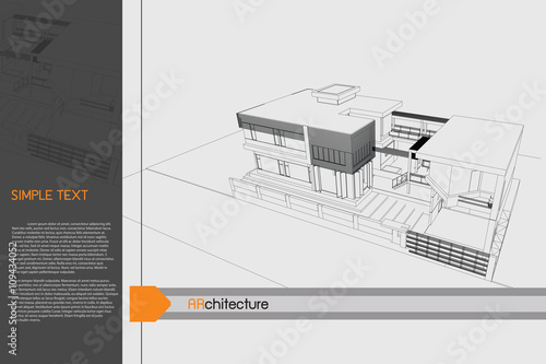 sketch design of public building on drawing table,vector