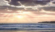 Sunset Over The Mediterranean Sea Near Acre