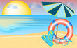 sandy beach, sandals, umbrella, sunglasses