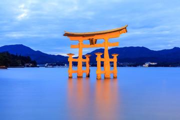 Fototapeta Miyajima, The famous Floating Torii gate at night