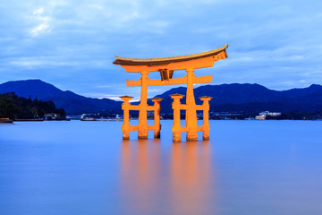 FototapetaMiyajima, The famous Floating Torii gate at night
