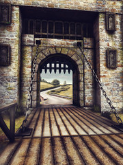 Fototapeta Most zwodzony w baśniowym zamku