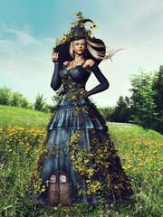 Fototapeta Fantasy Pani wiosna w długiej sukni i kapeluszu na kwitnącej łące