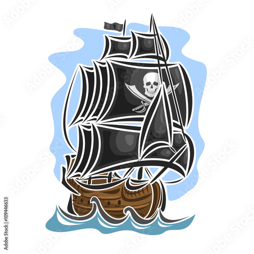 Photo  Vector logo pirate sailing ship, sailboat, sailer, vessel, sailing, barque, craft, frigate, caravel, galleon, schooner, floating blue sea, ocean, waves