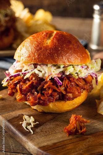Homemade Vegan Pulled Jackfruit BBQ Sandwich © Brent Hofacker