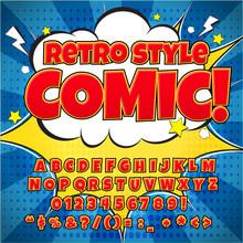 Comic Retro Alphabet Set. Red ...