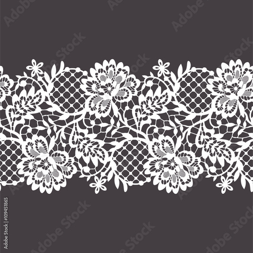 Fotografie, Tablou  Lace Ribbon Seamless Pattern