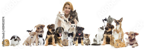 Staande foto Kip group of pets
