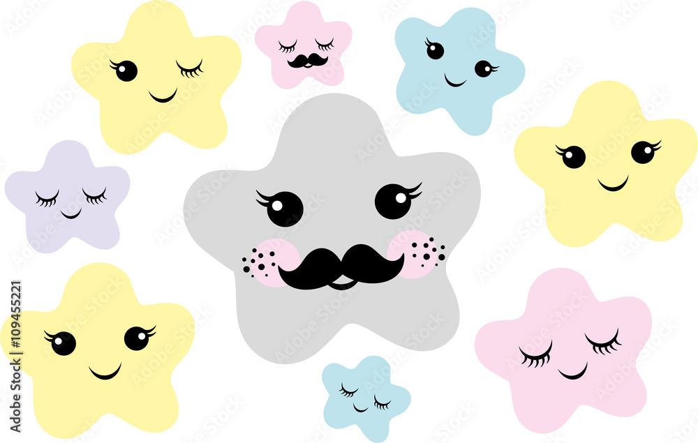Fototapety, obrazy: cute star cartoon vector set