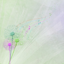 Colorful Dandelions With Seedlings And Music Notes On Wedding Tulle